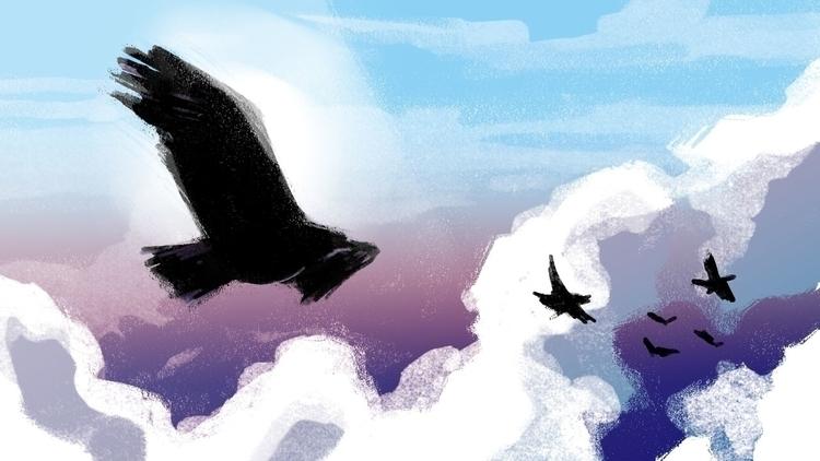 Sky kings - birds, falcon, sky, clouds - flightlessbutstilltrying   ello