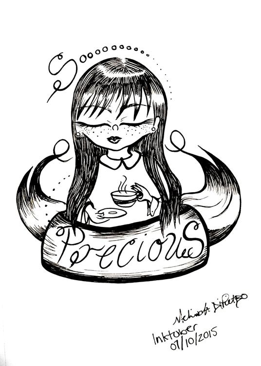 Pen ink drawing Precious - blackandwhite - melindadipietro   ello