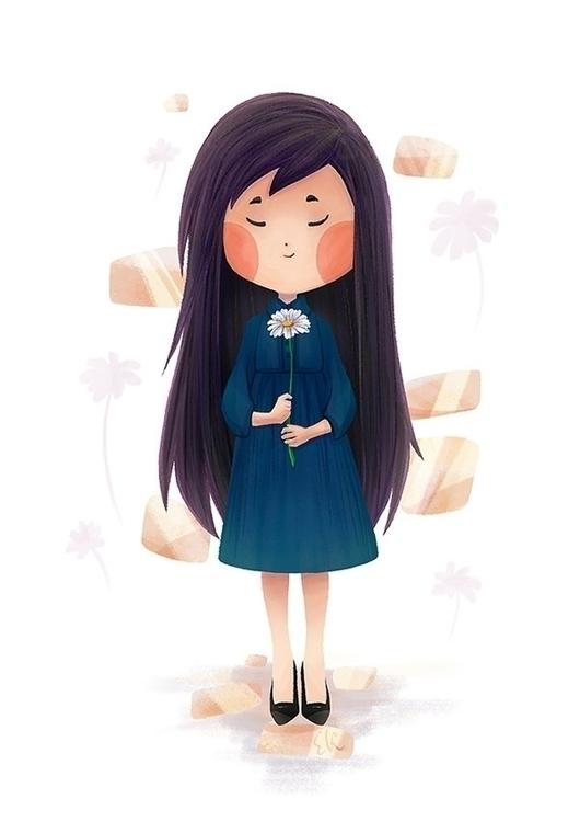 flower, girl, illustration, children'sillustration - candyfox | ello