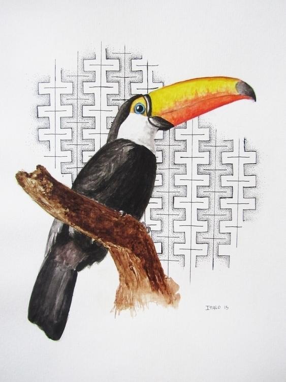 Watercolor Tucano - watercolor, illustration - italodea | ello