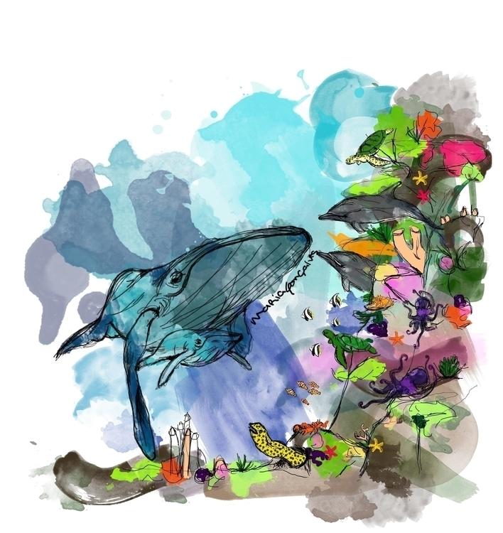 illustration, sea, aguarela, blue - mgoncalves | ello