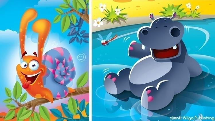 Animals - illustration, snail, hippo - marcinpoludniak | ello