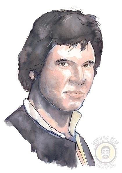 Han Solo - illustration, painting - whistlingbear | ello
