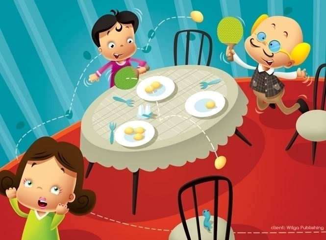 dinner - illustration, plates, chair - marcinpoludniak | ello