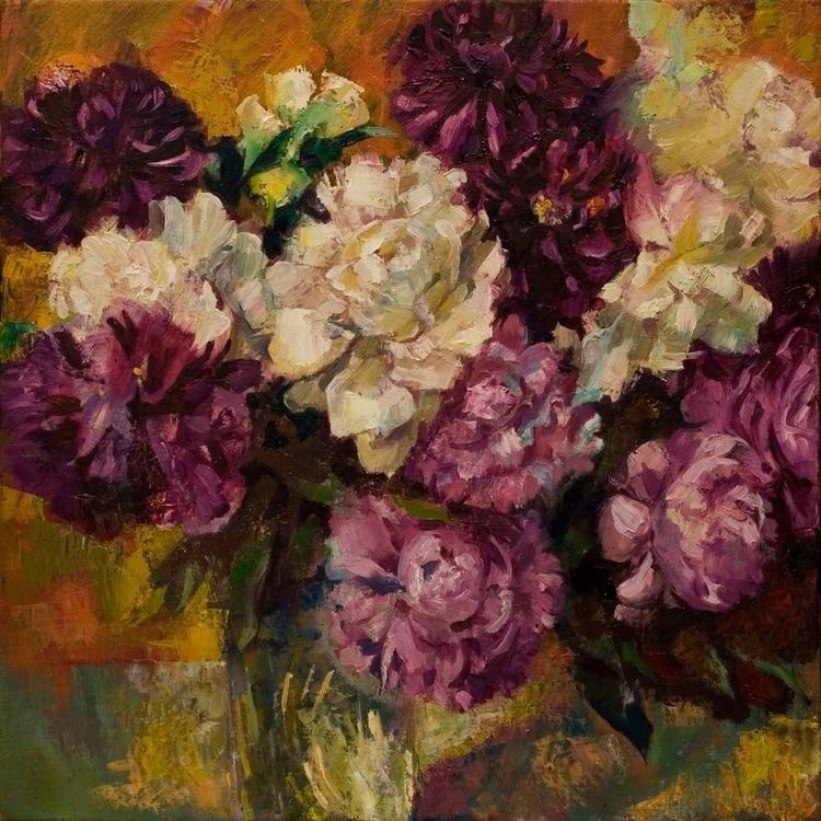 Peony - painting, flowers, oilpainting - gazer-9289 | ello