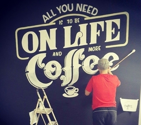 Ad agency coffee themed mural - signpainting - gibara | ello