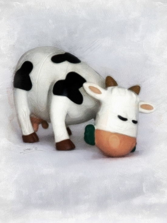 Small toy cow grazing, perfect  - filigranasdigitales | ello