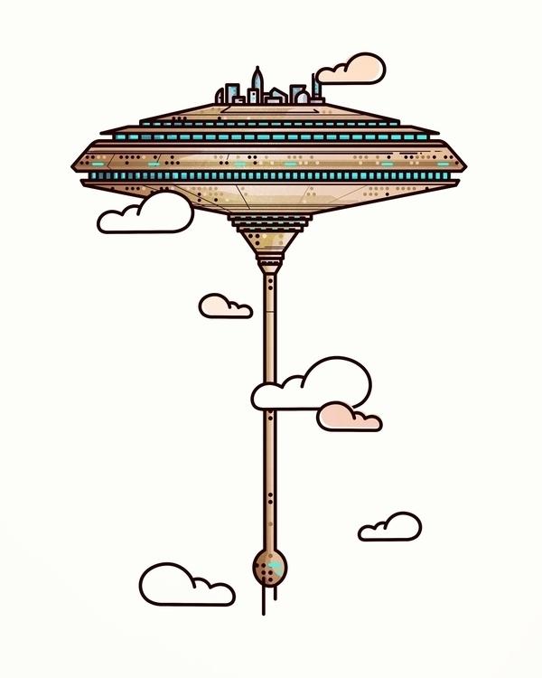 cloud city - illustration, animation - almigor | ello