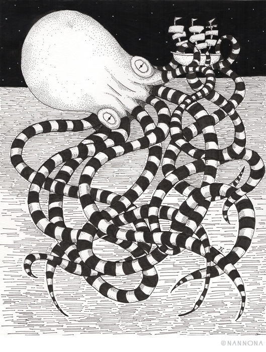 blackandwhite, blackink, kraken - nannona | ello