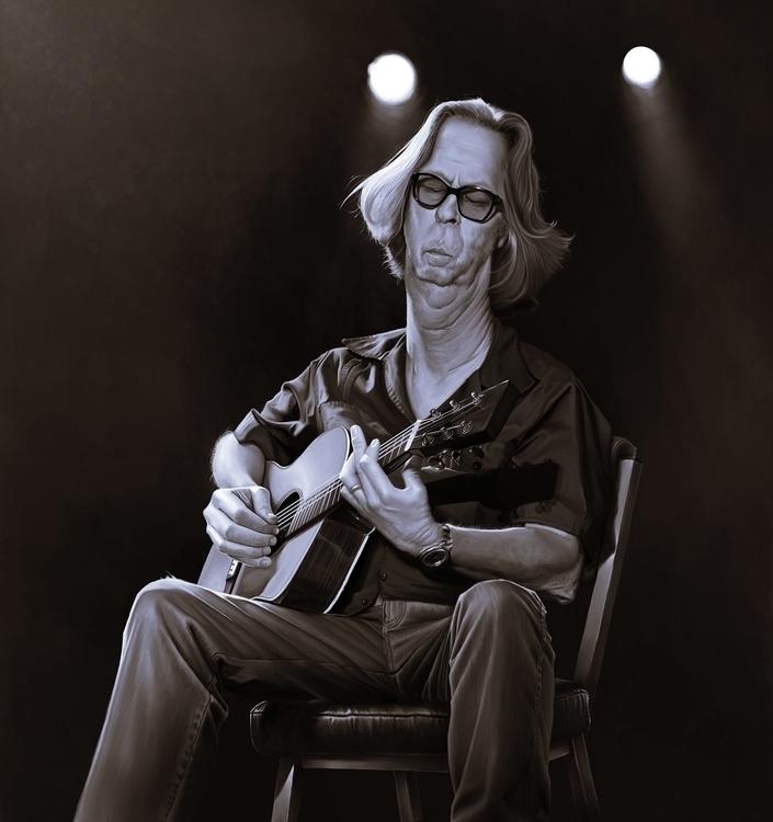 ericclapton, guitar, music, caricature - lucassomariva | ello