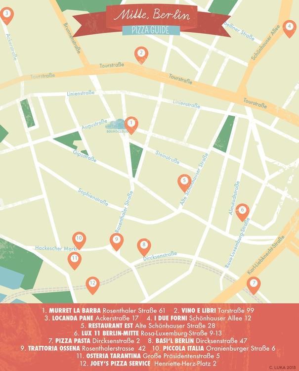 Berlin Pizza Map - map, illustratedmap - christinaluka | ello