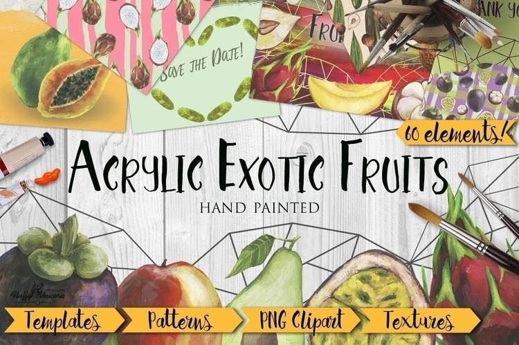Set acrylic hand painting exoti - kate_vigdis | ello