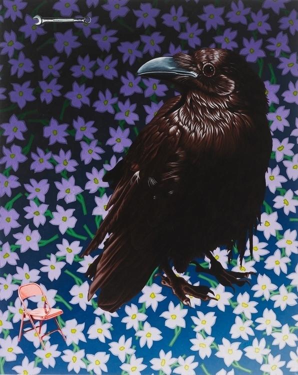 Portrait Pink Chair - crow, bird - stephenhallny | ello