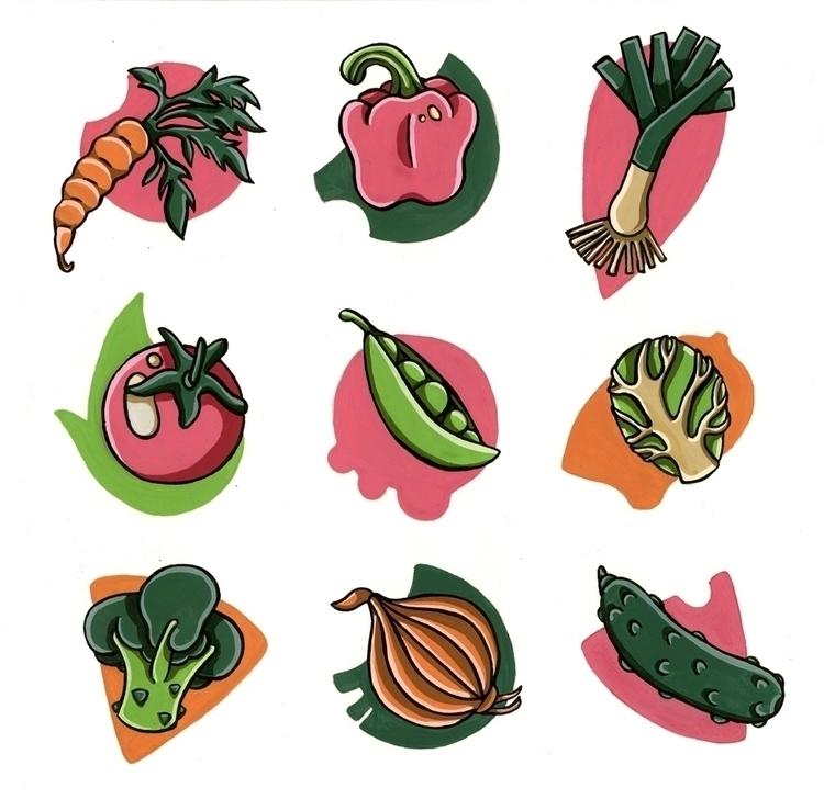 Veggie Spots, gouache watercolo - sagecotignola | ello
