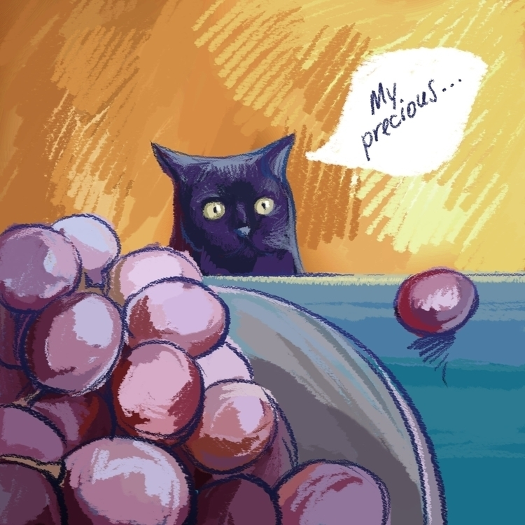 cat loooves roundies - fun, grape - milayavredina | ello
