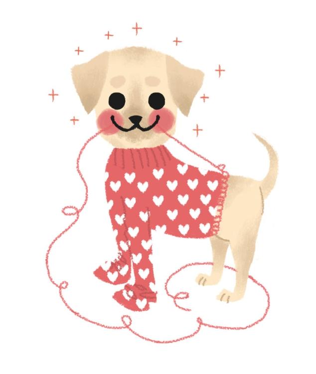 winter, dog, illustration, sweater - mabelalarcon | ello