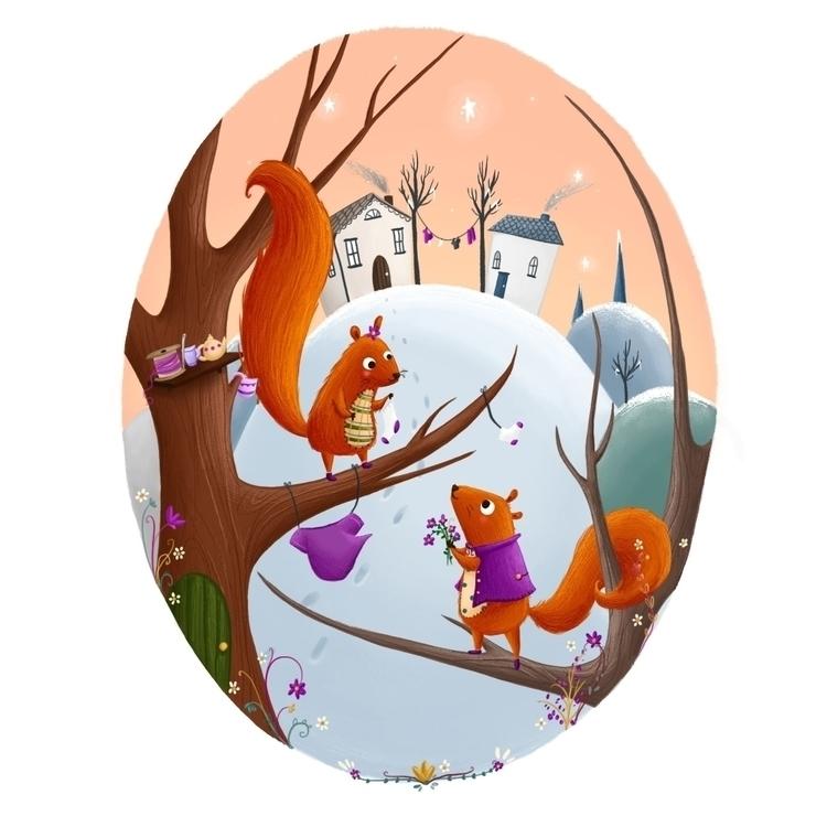 Squirrels - orange, purple, squirrels - illustratelucy   ello