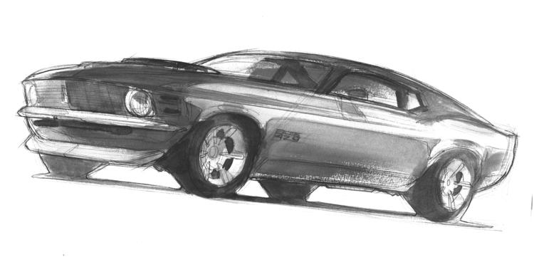 BOSS 429 - mustang, automotive, watercolor - petrolhead1992   ello