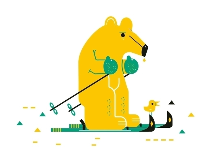 bear ski - illustration, animals - schnuppe | ello