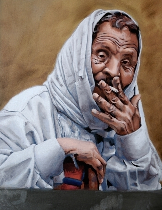 Egyptian Man Smoking - Study - portrait - kryskoarts | ello