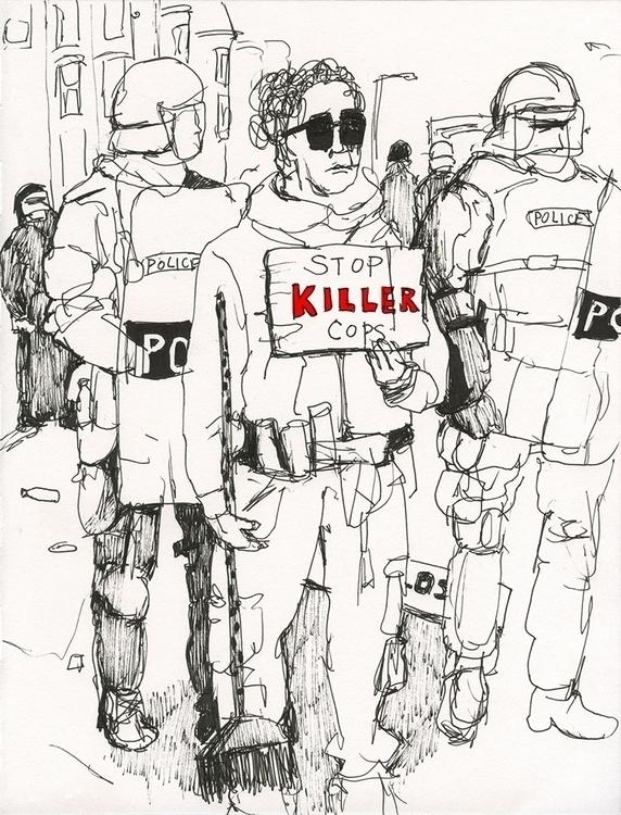 Protester day Baltimore riot - drawing - ononlao | ello