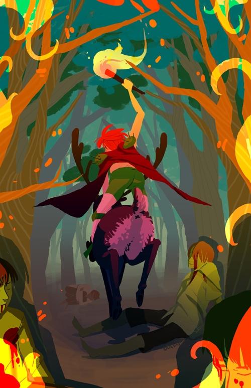 elf-themed pieces zine - fire, woodelf - scookart | ello