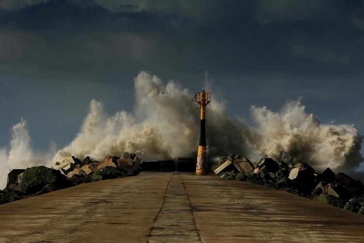 Dark Storm - wave, storm, pier, lighthouse - kreatox | ello