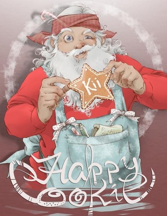 Christmas Eve Card - santa, cooking - kiiouraha | ello
