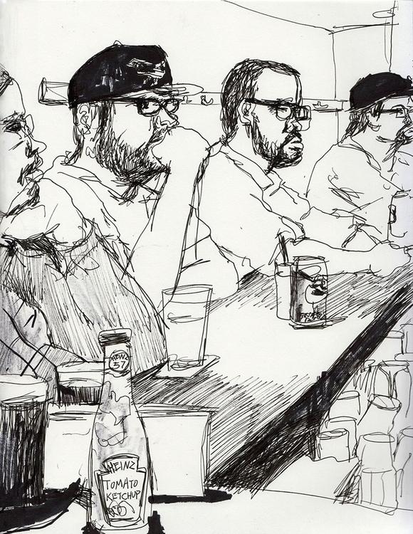 Bar - people, bar, drawing, sketchbook - ononlao | ello