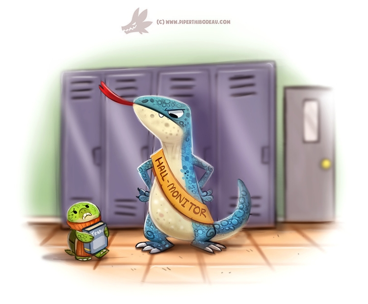 Daily Paint Hall Monitor Lizard - piperthibodeau | ello