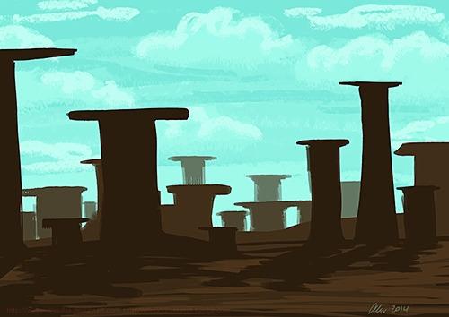 Strange landscape - landscapes, illustration - alexandrasketch | ello