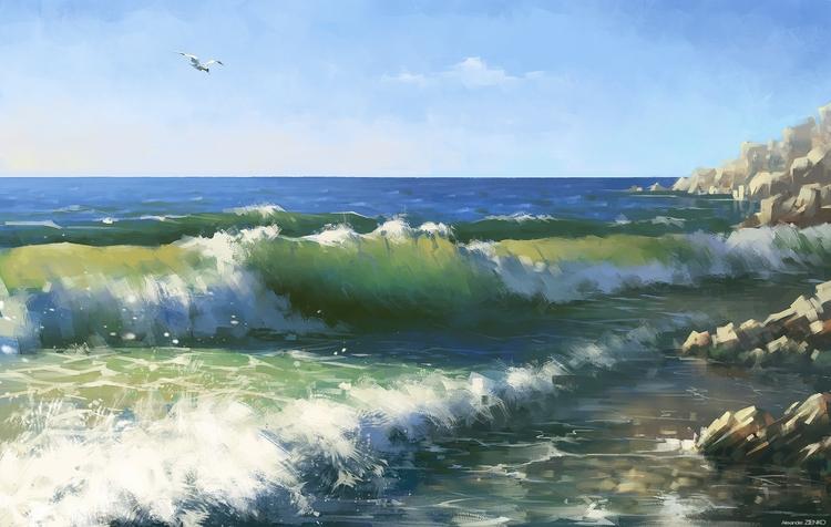Sakharov sea - illustration, painting - ziiart | ello