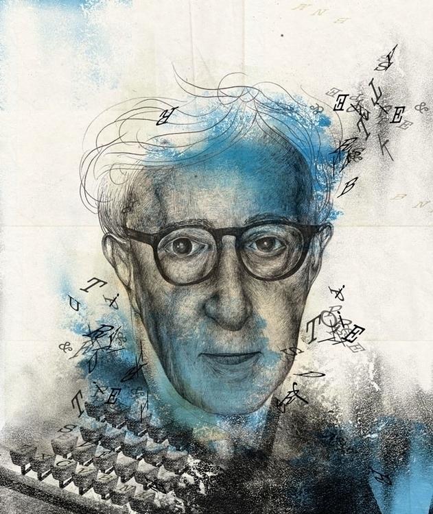 Woody Allen - illustration, portrait - paojulin | ello