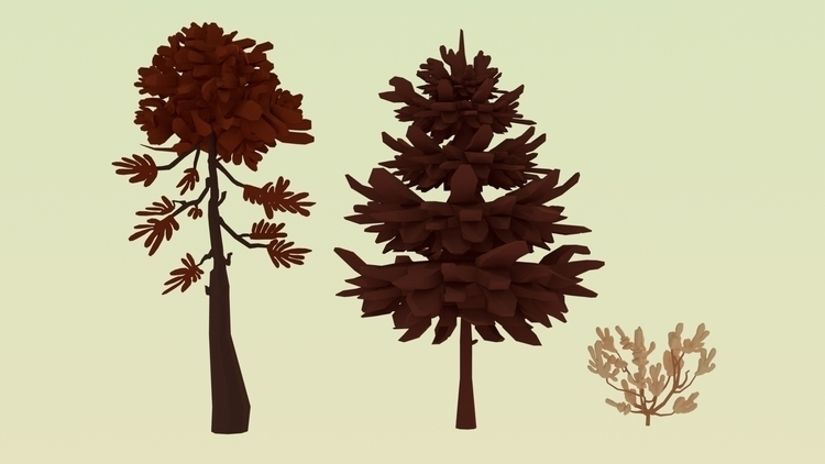 illustrated trees - 3Dassets, illustration - annaschillings | ello