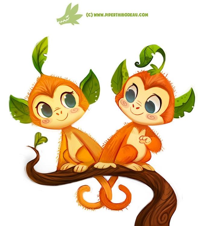 Daily Paint Leaf Monkeys - 1175. - piperthibodeau | ello