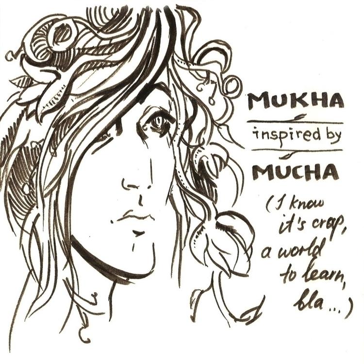 Mukha inspired Mucha - penink, sketch - liovamilla | ello