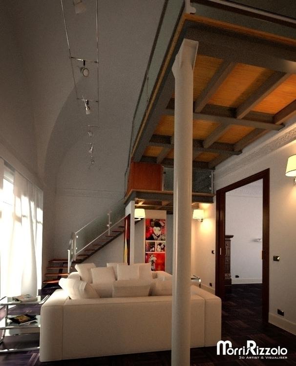 living room - 3d, interior, 3dinteriordesign - morris_rizzolo | ello
