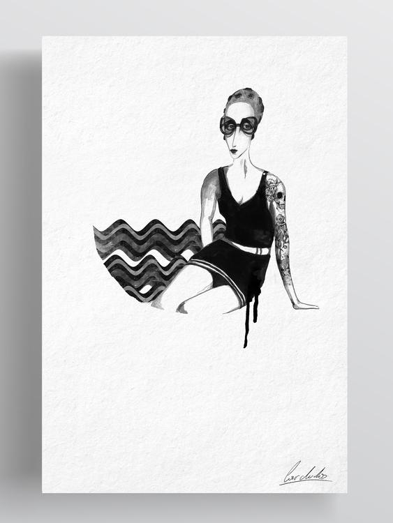 Sea - drawing, ink, portrait, tattooedlady - cardula | ello