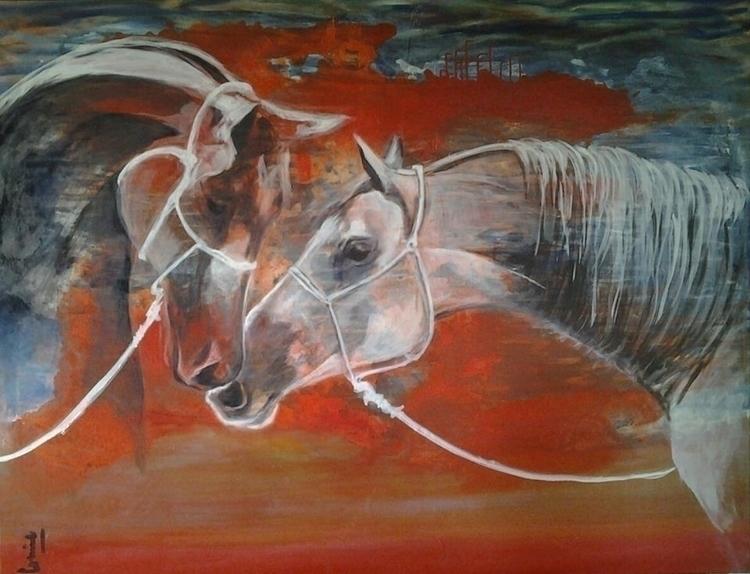 painting, oiloncanvas, horses - conniemullerarte | ello