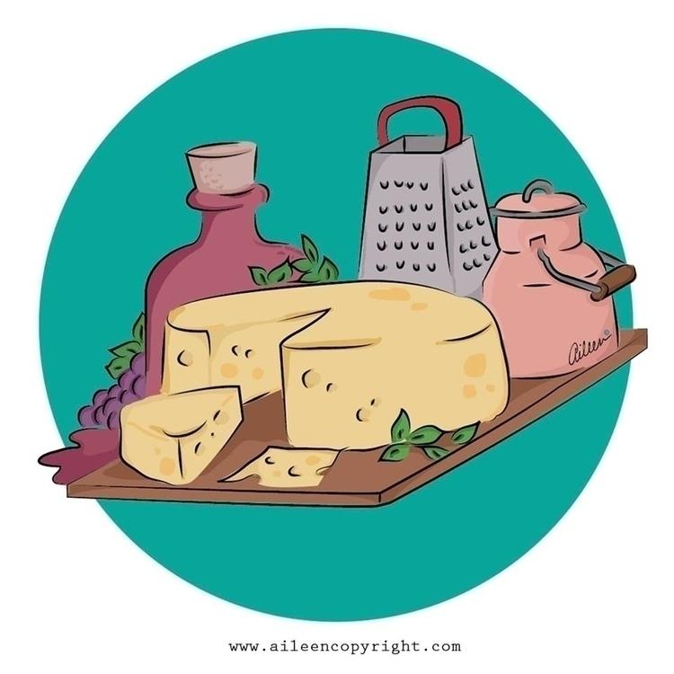 Vino Queso / Wine Cheese Illust - aileencopyright | ello