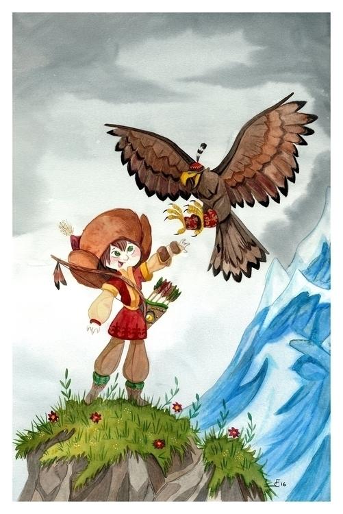 Eagle Huntress - mongolia, characterdesign - finbarcoyle | ello