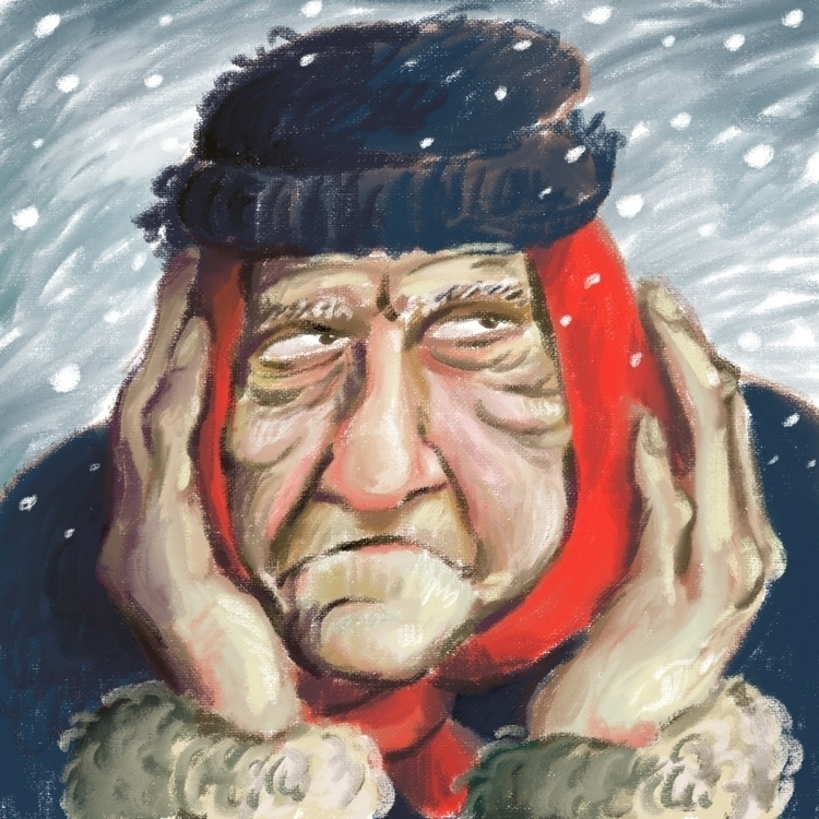 woman snowfall - illustration, digitalart - prianikn   ello