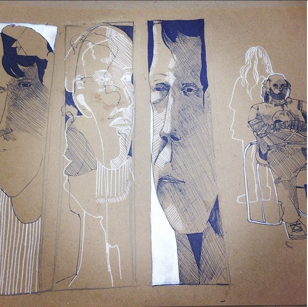 illustration, ink, blue, model - samanthacastoro   ello