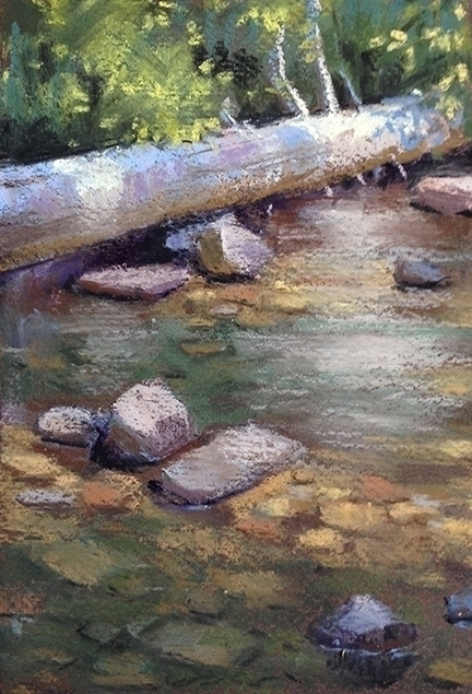 pleinair, log, pastel, river - mellydraws | ello