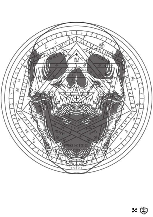 Skull John Dee - alchemy, illustration - e1_since1987 | ello