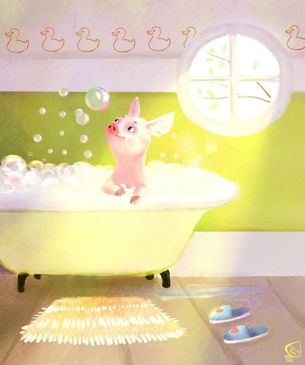 Piggy - illustration, pig, watercolor - carrotrain | ello
