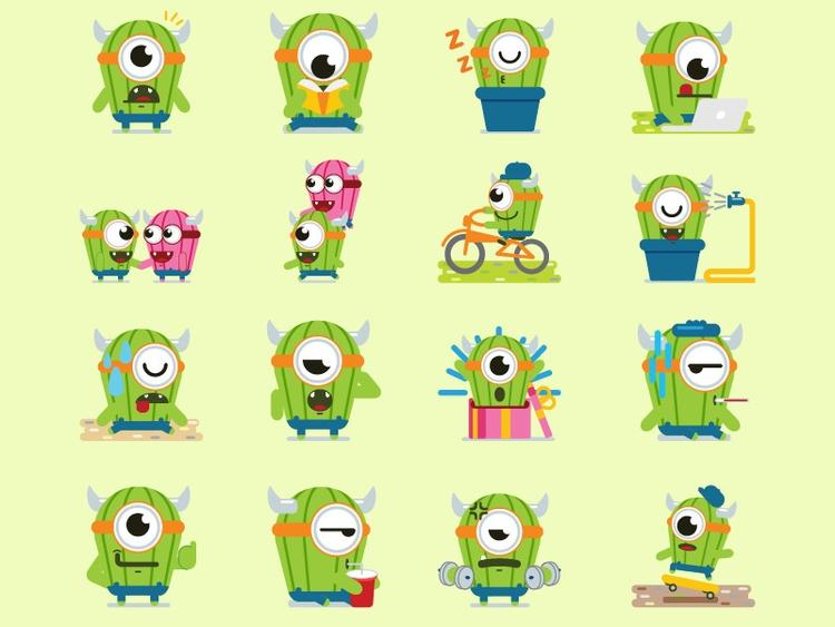 Cute Monster Sticker Pack - illustration - rockcodile | ello