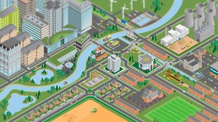 Isometric town illustration - environment - scotty-6923   ello