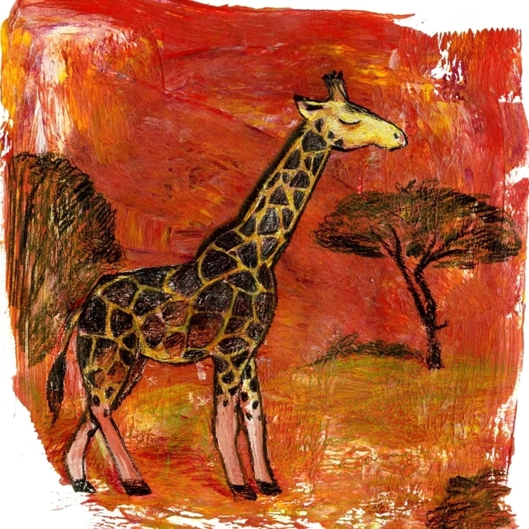 Giraffe - giraffe, animals, illustration - prianikn | ello