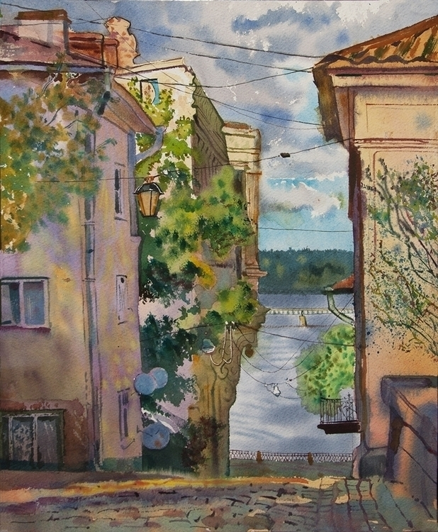 Vyborg - watercolor, watercolour - naktisart   ello